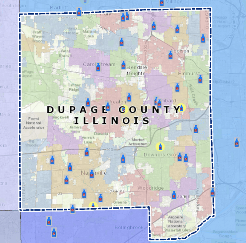 RxBOX location map in DuPage County